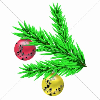 Christmas balls on a branch