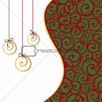 Greeting card with stylized Christmas balls