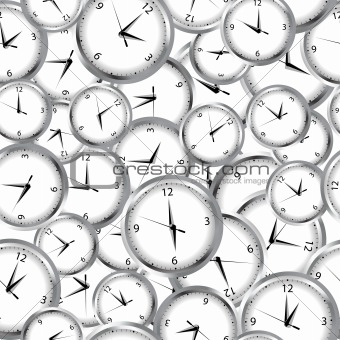 Seamless pattern with clocks and time