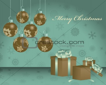 Retro vector Christmas (New Year) card