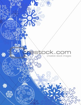 Blue Christmas background with contour balls