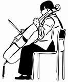 sketch of a woman playing a cello bow