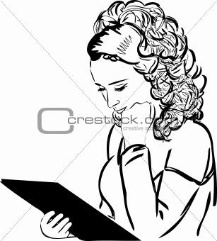 thumbnail blonde carefully read the menu