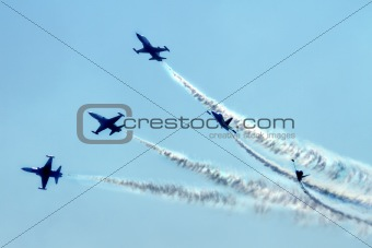 airplanes on the blue sky