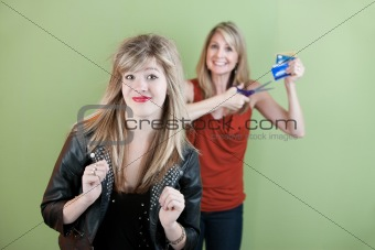 Mom Gestures To Destroy Credit Card