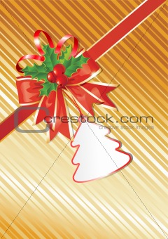 Christmas Background with Gift Tag,  Red Bow and beautiful Holly
