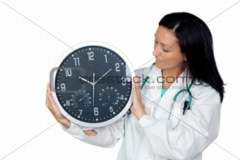 Adorable doctor with a big clock