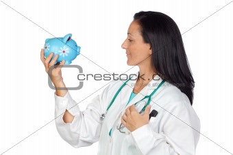 Adorable doctor with money-box