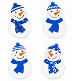 Cute vector snowmen collection isolated on white ( blue )