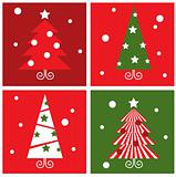 Winter Christmas Trees retro blocks collection - red & green