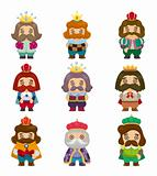 cartoon king icons set