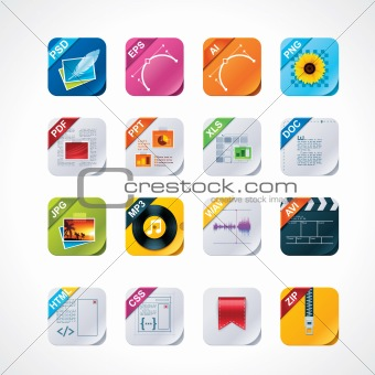 Square file labels icon set