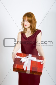 beautiful sexy woman eith christmas present