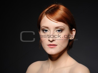 Portrait of pretty woman with pure healthy skin and retro