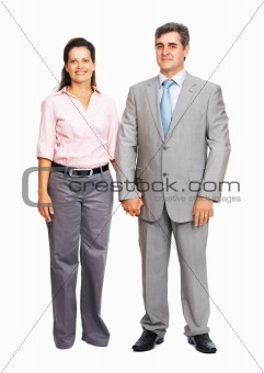 Happy business couple smiling together