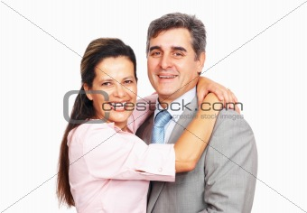 Business couple embracing each other