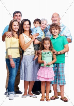 Caucasian family portrait on white background, 3 generation