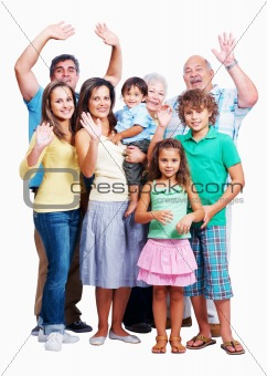 Family raising hands isolated on white background