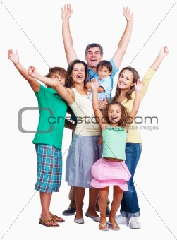 Happy family raising hands together on white background