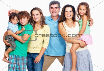 Cheerful parents with kids isolated on white background
