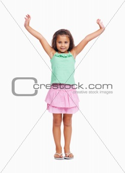 Cute little girl raising hands isolated on white background