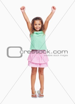 Little girl raising hands on white background