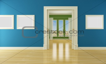 Empty interior with sliding door and window