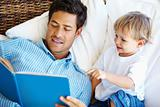 Father and son reading story book