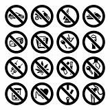 Set icons, prohibited signs black