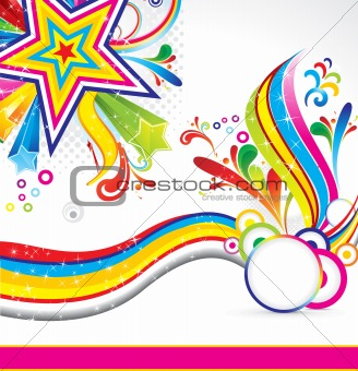 abstract colorful star background with wave