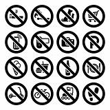 Set prohibited symbols, shop black signs