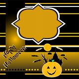 halloween background with smile pumpkin banner card vector