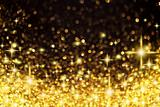 Golden Christmas Lights and Stars Background