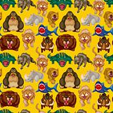 cartoon angry animal seamless pattern