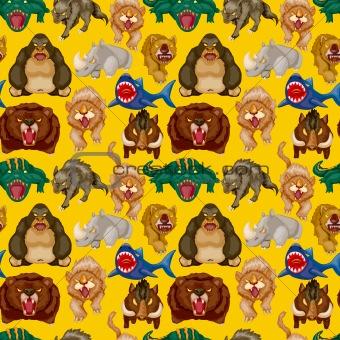 cartoon angry animal seamless pattern