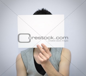 Young man with blank card