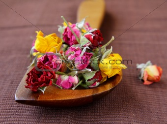 Dried rose hipson a wooden  table
