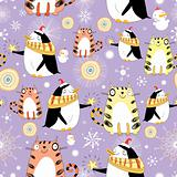 funny texture with cats and penguins