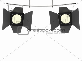 Two stage spotlights looking to the viewer