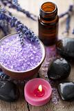 herbal salt lavender and spa stones 
