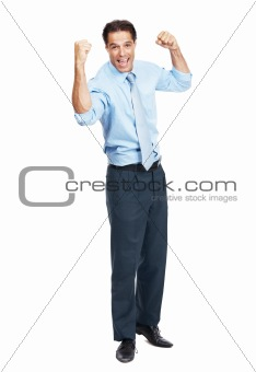 Happy energetic businessman celebrating success