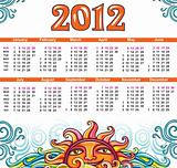 Celestial calendar for 2012