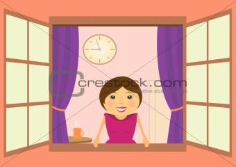 beautiful woman in window with clock and coffee