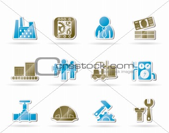 Business, factory and mill icons