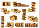 round biscuits arranged in different shape