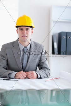 Close up of architect working