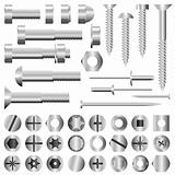 Vector set of nuts and bolts