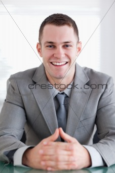 Close up of businessman who got good news