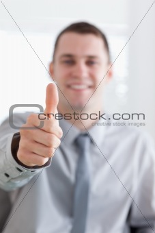 Close up of giving thumbs up
