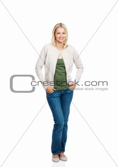 Elegant young woman standing isolated on white